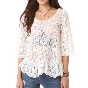 Free People Scalloped Lace Top Size XS